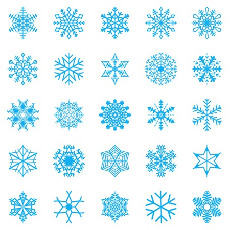 the snow: Snowflake set for winter design. Vector illustration Illustration