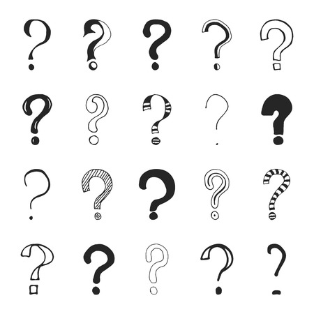 Set of hand drawn question marks. Vector illustration. Çizim