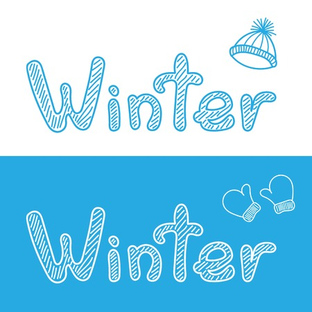 woollen: Winter hand drawn bacgrounds with cap and mittens. Vector illustration