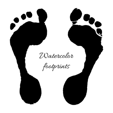 foots: Watercolor black prints of children foots. Vector illustration.