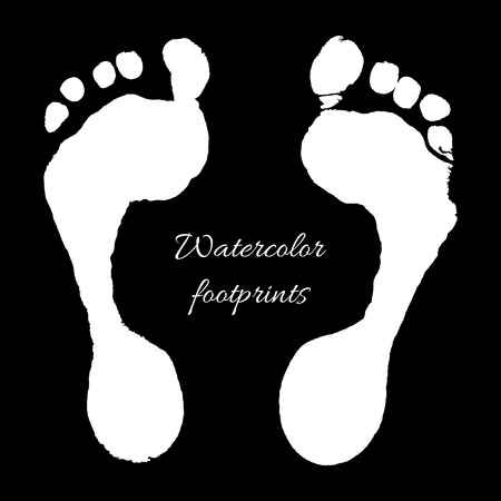 Watercolor white prints of children foots. Vector illustration.