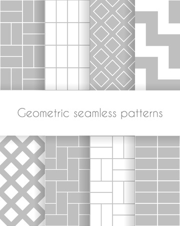Set of geometric minimalistic seamless patterns in white and gray colors. Vector illustration
