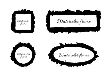 circle frame: Watercolor frames - black square, rectangle, circle and oval. Vector illustration.