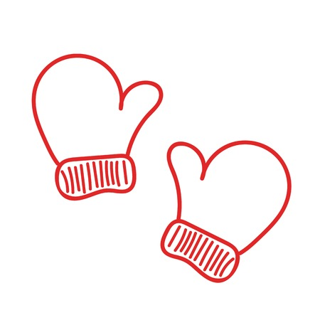 Hand drawn isoladed red warm mittens for cold winter weather on white background. Vector sketch Illustration
