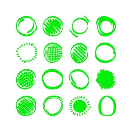 Vector highlighter elements - hand drawn circles Illustration