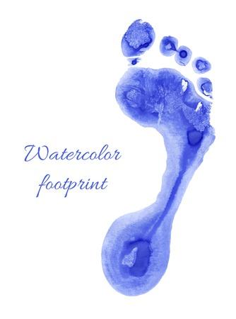 huellas pies: Proyecto original de la acuarela de los ni�os pie. Ilustraci�n del vector.