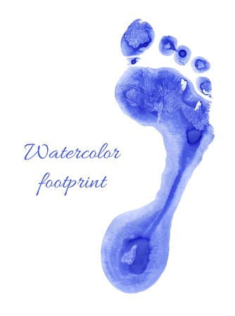 baby blue: Watercolor blue print of children foot. Vector illustration.