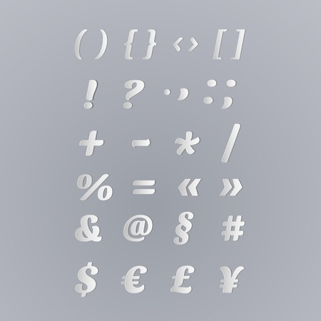 parentheses: Vector Paper Graphic Alphabet Set - Symbols