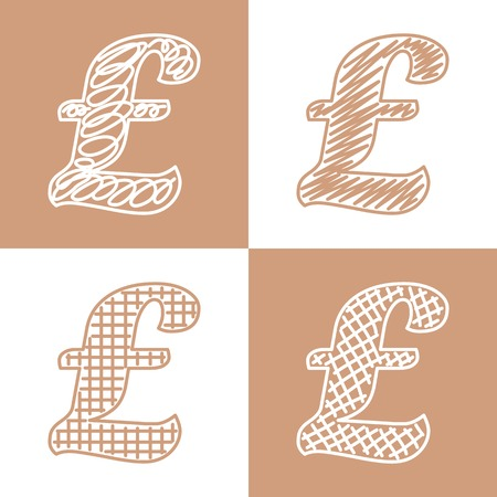 quid: Set of hand drawn pound pound sterlings. Vector grunge style icons collection
