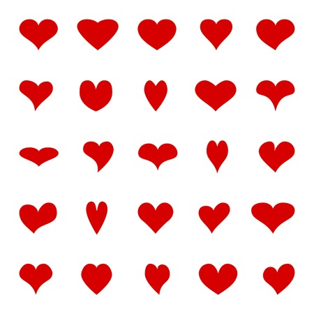 Big set of diffrent isolated red hearts. Vector elements for your design. Vector