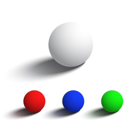 Set of isolated realistic 3D spheres in different colors. Vector objects on white background for your design. Vector