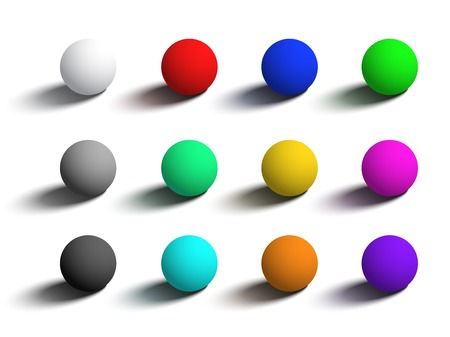 Set of isolated realistic 3D spheres in different colors. Vector objects on white background for your design.
