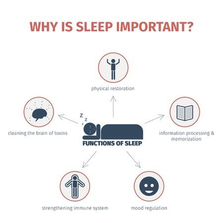 Infografika snu. Znaczenie snu, funkcji. Mieszkanie ilustracji wektorowych. Mapa myśli
