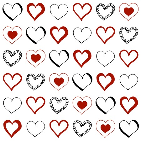 Hand drawn doodle hearts. Seamless pattern - vector background.