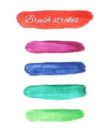 multi colors: Set of multi colors watercolor brush strokes. Vector colorful elements for your design.