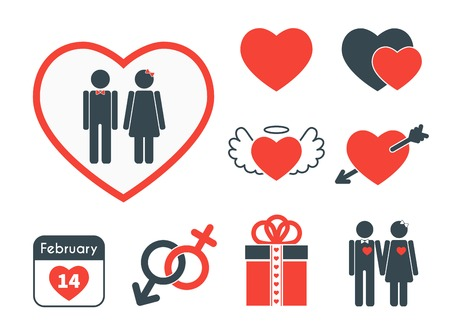 Set of icons on the theme of love and Valentines day. Vector red and blue signs in flat design style. Vector