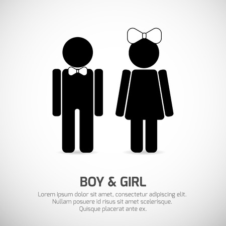 Boy and Girl symbols. Vector signs for stecifying gender. Can be used for restroom, toilet, bathroom etc.