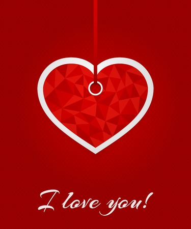 colorful heart: 3D greeting card with declaration of love. Red label in the shape of triangulated heart on ribbon on red background with small hearts. Vector template