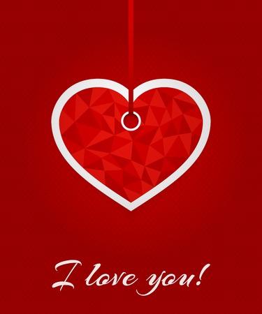coeur en diamant: Carte de voeux 3D avec déclaration d'amour. Étiquette rouge en forme de coeur triangulée sur ruban sur fond rouge avec des petits coeurs. modèle de Vector