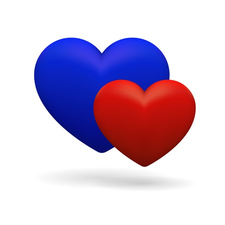 3D icon with his and her hearts. Blue and red isolated signs of hearts on white background. Vector element. Vector