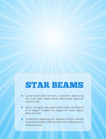 Vector stylish background with shining star with divergent bundle of beams and transparent card in blue colors for cover, flyer, banner, etc. Çizim