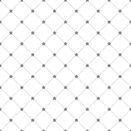 Grey stars and dots seamless pattern in rhomb shape. Vector background Vector