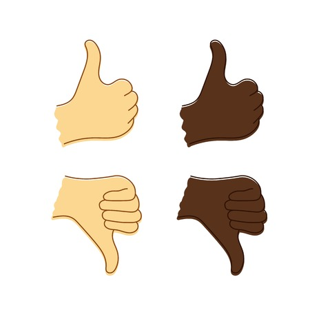 Isolated sketch of Caucasian and Afro-American hands with thumb up and thumb down. Vector icon of like or dislike. Иллюстрация