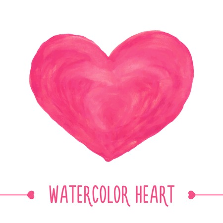 color separation: Watercolor hand drawn heart. Vector illustration