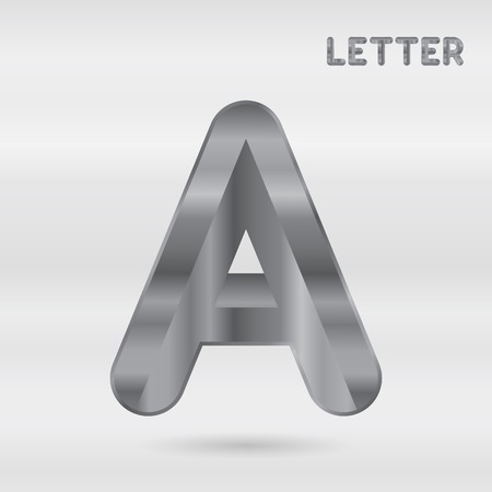 stainless: Metallic alphabet. Set of stainless 3d letters. Vector letter A.