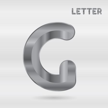 stainless: Metallic alphabet. Set of stainless 3d letters. Vector letter G. Illustration