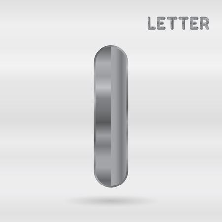 stainless: Metallic alphabet. Set of stainless 3d letters. Vector letter I.