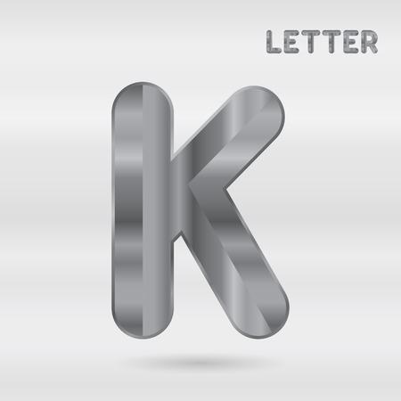 stainless: Metallic alphabet. Set of stainless 3d letters. Vector letter K.
