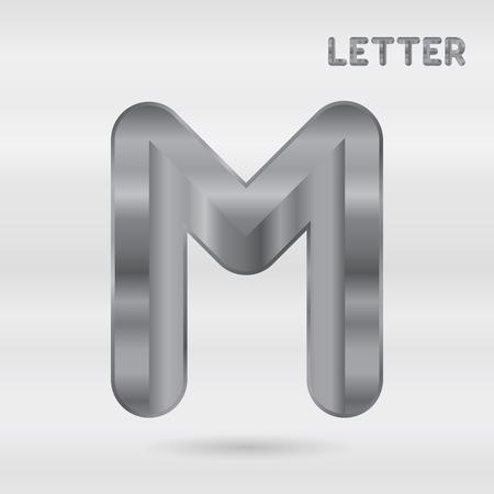 stainless: Metallic alphabet. Set of stainless 3d letters. Vector letter M. Illustration