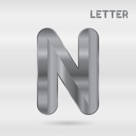 stainless: Metallic alphabet. Set of stainless 3d letters. Vector letter N.