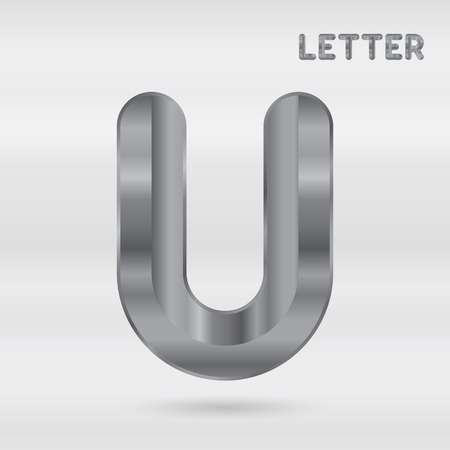 stainless: Metallic alphabet. Set of stainless 3d letters. Vector letter U.
