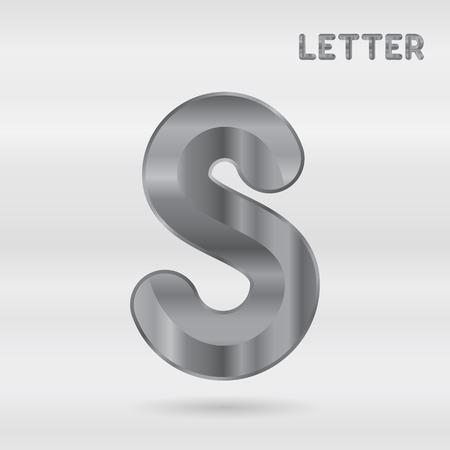 stainless: Metallic alphabet. Set of stainless 3d letters. letter S.