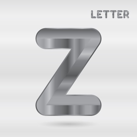 stainless: Metallic alphabet. Set of stainless 3d letters. letter Z. Illustration