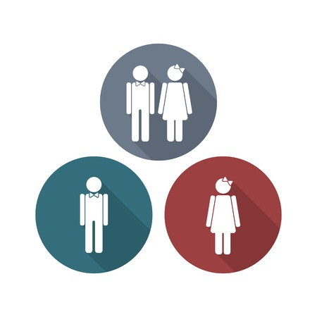 specifying: Man and Woman symbols in flat style with long shadows. signs for specifying gender. Can be used for restroom, toilet, bathroom etc.