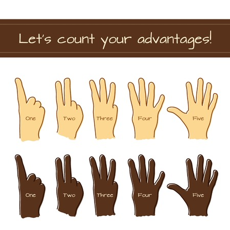 Set of isolated sketches of Caucasian and Afro-American hands with count from 1 to 5 by fingers. outlined doodle icons for numeration any items for use in design of advertisement, flyer, banner, step process, etc. Иллюстрация