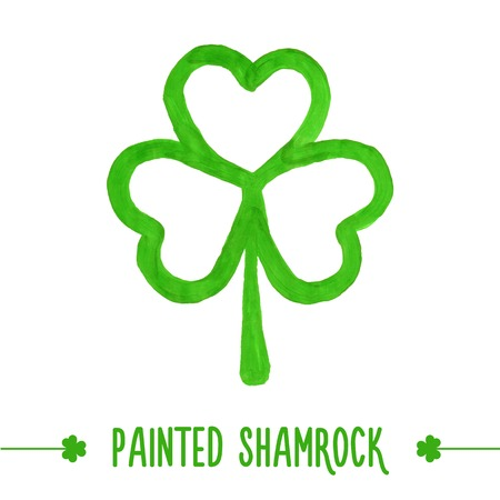 freehand tradition: Painted shamrock for design of St. Patricks Day items. Isolated element for greeting card, cover, presentation, web site, banner, etc. Illustration