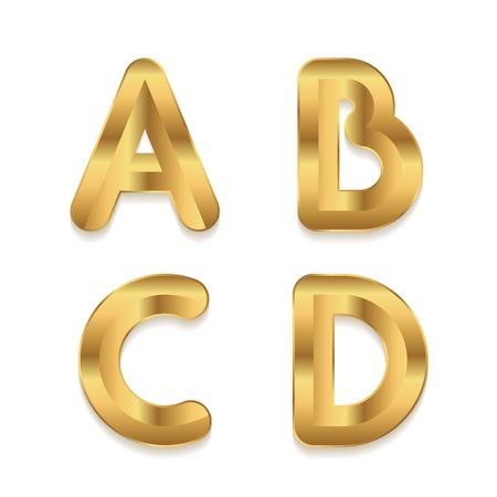 Golden alphabet. Set of metallic 3d letters. Vector letters A B C D. Vector