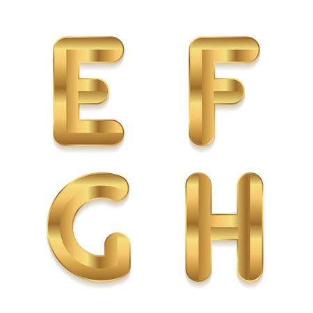 h: Golden alphabet. Set of metallic 3d letters. Vector letters E F G H.