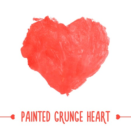 Painted hand drawn grunge heart. Vector illustration Vector