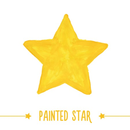 Painted hand drawn yellow star. Vector illustration Vettoriali