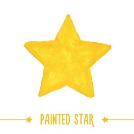 estrella caricatura: Pintado a mano dibujado estrella amarilla. Ilustración vectorial Vectores