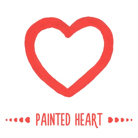 Painted hand drawn outlined heart. Vector illustration Vector