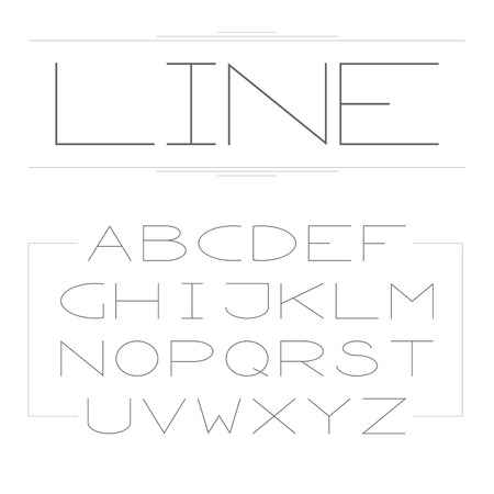 Thin lined modern alphabet. Vector outlined letters. Vector