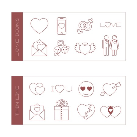 nimbus: Set of isolated love thin lined outlined icons. Vector signs for design of apps, interfaces, web sites, banners, presentations, etc.