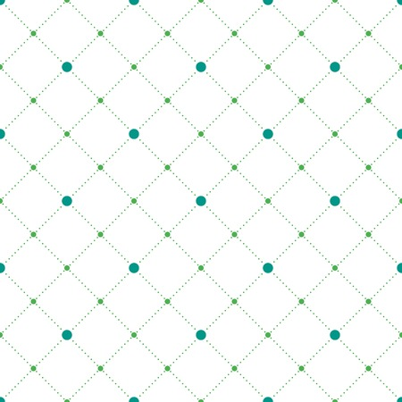 Blue and green circles and diamonds seamless pattern in rhomb shape. Vector repeating background for cover, presentation, web site, banner, etc. Vector