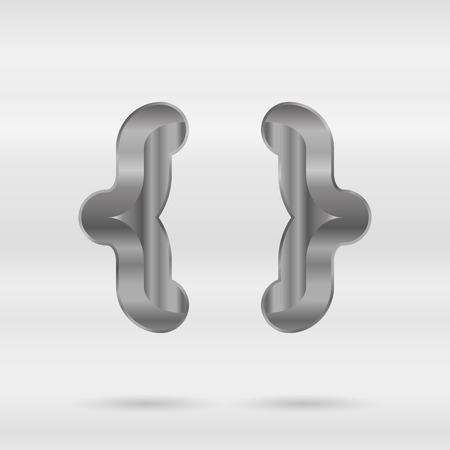 punctuation mark: Alfabeto met�lico. Conjunto de letras 3d inoxidable. Vector puntuacion marca llaves.